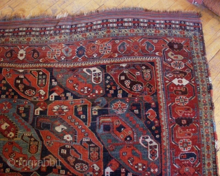 """Antique rare south Persian """"mother and daughter boteh"""" rug. (Reposted as original buyer reneged on sale without even seeing the rug, never shipped). Hard to find fresh anymore. All good colors with  ..."""