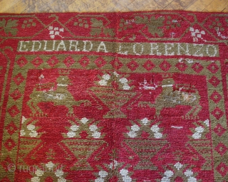 """Antique European looped pile carpet. Interesting old rug I know nothing about. Appears to have good age and attractive design. Needs cleaning and restoration. 5' 5"""" x 7' 5"""""""