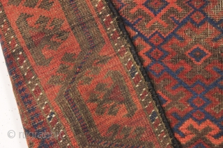 antique very small baluch rug. One of a number of baluch pieces from one Boston area home. Interesting field design with a border that has unusually well resolved corners. All natural colors  ...