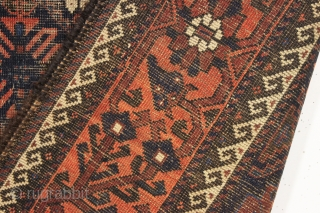 antique baluch rug. One of a group recently picked out of a local Boston area home. Interesting older mina hani design with a very attractive border. All natural colors. Wear and oxidation  ...