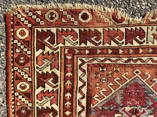 Antique little west Anatolian prayer rug. Interesting little rug found locally. I like the archaic serrated leaf border. Bergama? Coarse weave and overall low pile with  scattered wear and a good  ...