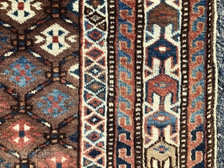 Antique turkman prayer rug or ensi with an unusual design, good colors and overall very good condition. Very slight field wear. Unlike any turkman weaving I have encountered before. Found locally in  ...
