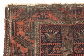 antique small baluch rug with interesting design features. Another piece from a local Boston home. In very rough condition but with some powerful archaic elements. Wear and damage clearly shown. Priced accordingly.  ...