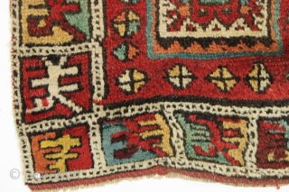 """Antique karapinar yastik. Interesting design. Thick high pile. All good natural colors. Small well done repair of one corner. Clean. ca. 1875. 22""""  x 40"""""""