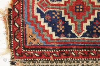 "Antique little afshar bag. Unusual design. All natural colors. Original back. No repairs. Clean. ca. 1880 Piled area 13"" x 18"""