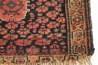 """Antique I don't know what it is bagface. Kurdish? Design I've never seen. Unusual pallete with all natural colors. Rough as shown. 19th c. 18"""" x 25"""""""