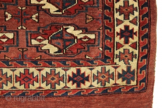 "Antique yomud chuval. Delicate minors. All natural colors with nice light blues. Clean with glossy wool. Thin and floppy with even low pile. No repairs. ca. 1875. 2'9"" x 3'4"""""