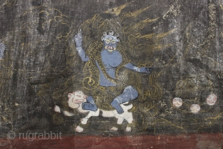 """Old painted fragment. Looks tibetan to me. Don't mess with these guys, buy it. 4 1/2"""" x 23 1/2"""""""