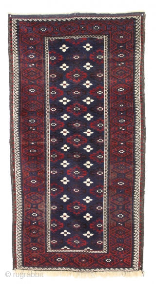"Antique large baluch. Lustrous wool, beautiful blues and saturated reds. Pretty good overall condition. Original brown oxidation. Great floor rug. Clean and sparkly crisp. late 19th c. 3'6"" x 6'8""    ..."