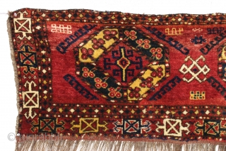 Antique turkoman like trapping or large bagface with thick thick pile and a wild design. Persian knotted with lustrous wool. Appears to have bristly warps, maybe goat hair or a mix of.  ...