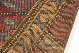 """Antique bagface. Probably kurdish. Unusual design. Intersting palette with lots of natural brown wools. Has a certain degree of integrity I like. Nice hole. ca. 1880. 2' x 2' 11""""    ..."""