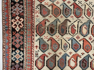 Antique Caucasian akstafa prayer rug from a New England home. Beautiful ivory ground example with all natural colors and good pile. Lovely purples, greens, light blues and of course the pretty akstafa  ...