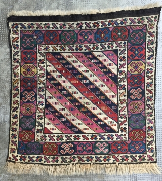 Sumak, khorjin face, Karabagh(-Shahsavan?), good colors well preserved, but tons of cochineal:-), very fine weave, 19th c. (ex Eberhart Herrmann, invoice available), 54 x 55 cm