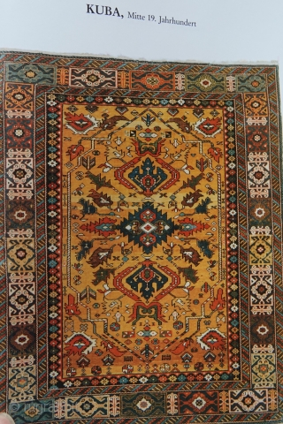 Caucasian Kuba Prayer rug Fragment, before 1800,  75x120 cm. In 1989 the merchant and collector Engelhardt exhibited his private collection in Moscow. His top-piece was a Kuba rug, estimated 1850. (  ...