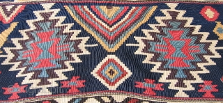 """#T1000 Caucasian (Shirvan?) kilim, 4'10"""" x 12'10""""; impressive single- piece flatweave with large-scale graphics rendered in bold colors; unusual in that instead of the normally repeating rows of similar design  ..."""