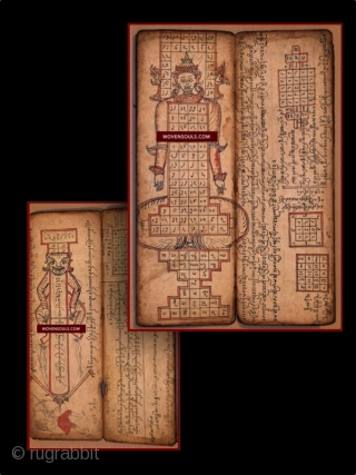 Rare Complete Burmese (Myanmarese) Buddhist Manuscript with older Burmese script dated 1874 - More photos & details here: https://wovensouls.com/products/1126-fabulous-antique-myanmar-buddhist-manuscript