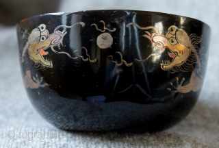 A set of museum quality late 18th to early 19th century Chinese black lacquer dragon bowls, made and painted by a master lacquer bowl maker and painter. In excellent condition with just  ...