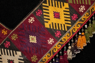 Fine Uzbek Lakai tribe silk embroidered 'segusha'.  Embroidered in silk using needlepoint technique with silk tassels and antique beads. In some cases the beads are older than the textile and are a particularly  ...