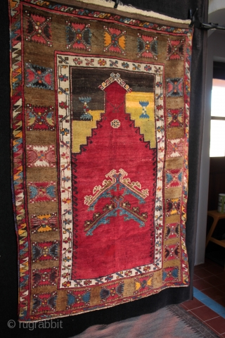 Unusual type of Anatolian prayer rug from Sivas with double floating prayer arches in the mirhab.    One of the recent arrivals to my collection of Anatolian kilims and rugs, a Kurdish  ...