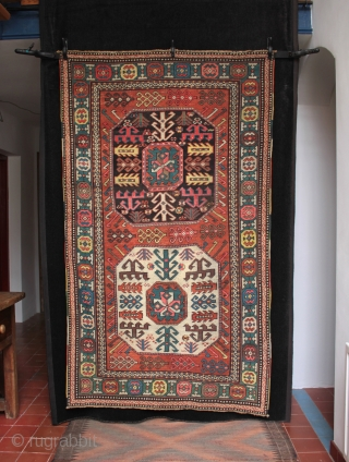 Interesting antique two medallion Chajli rug with good colours and condition and minor repairs. Size 196cm x 106cm.