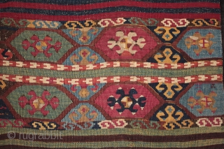 Rare type of East Anatolian tribal kilim.Sold  From the area between Malatya, Adiyaman, Adana and Reyhanli, woven by Kurdish nomads probably within the Reshwan confederation but with Turkmen influence. The drawing is very  ...