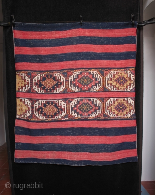 An attractive east Anatolian Malatya chuval with Memling guls and striped kilim skirts. Good colours and in excellent original condition, the back lined with linen by its former owner, a UK collector. Size  ...