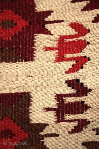 Rare type of kilim with flax warps and grey angora wool possibly from Ukraine.
