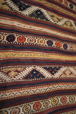 Unusual large West Anatolian Karakecili çiçim embroidered kilim