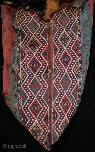 Antique Anatolian chuval from East Anatolia with intense natural dyes.  An unusual survivor, a 19th century East Anatolian chuval with beautiful natural dyes in original condition with old nomadic patch repairs and some  ...
