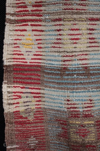 Old Anatolian child's angora yatak rug from Karapinar.