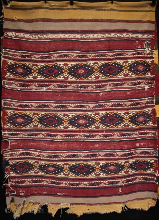 Rare survivor, a very large finely woven 19th century West Anatolian Elmali kilim chuval.