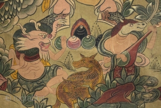 A rare and beautifully painted very large Tibetan monastery thangka of two of the guardian kings of Buddhism. The thangka is in excellent condition and older than it appears as you can  ...
