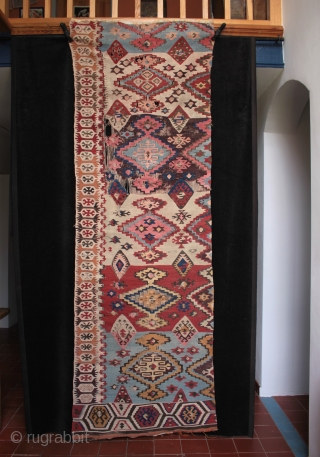 Antique east Anatolian half kilim fragment, delicate drawing, Adana style design with that refined late 19th century look.  244cm x 80cm. One of more than 50 kilims, fragments, çiçims, chuvals and  ...