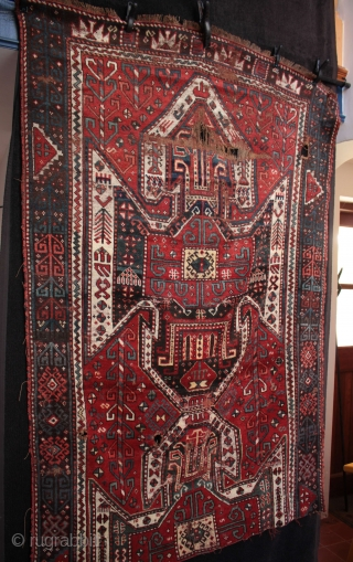 Beautiful mid 19th c. East Anatolian large Kazak shield rug fragment from Kars  Woven in Kars region of East Anatolia by Borjalu (Borchaly) Kazaks who were immigrants to the area from in the  ...