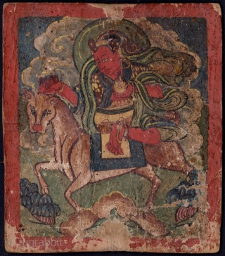 Early pair of Tibetan or Mongolian Buddhist tsakli.   Tsakli are small thangka paintings used for personal Buddhist practice and are sometimes painted in a series for teaching. The first tsakli possibly depicts  ...