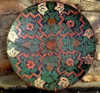 An unresearched large medieval dish formerly the property of an English archaeologist. 