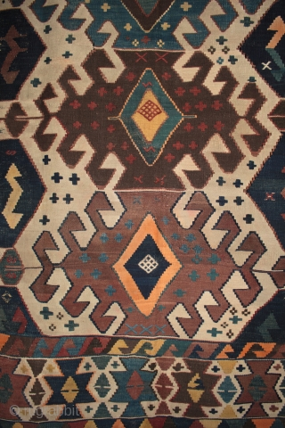 Beautifully drawn Anatolian Karakecili tribe kilim  From a newly arrived collection of antique kilims and rugs. Excellent design and good colours, peppered with interesting cicim embroidered motifs, and apparently very rare warps threads  ...