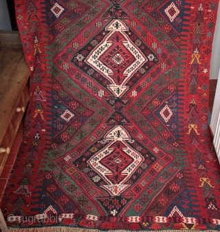 Large and rare 19th century Anatolian Rashwan tribe kilim in exceptional condition  Brought back from Turkey in the first quarter of the 19th century by a German family in the paint manufacturing business.  ...