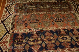 Fine Antique Anatolian Kilim  Konya Kelle   Size 410x178 cm  Age Ca, 1920