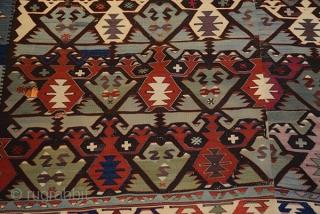Fine Antique Anatolian Kilim  Konya Kelle  Pure wool  Size 380x187 cm  Age Ca, 1910