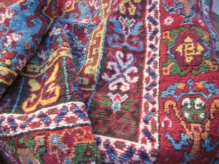 Fragment of an old, small, colorful Rabat rug (232cm. x 135cm.)   Small animals, high & glossy pile, superb colors -no ugly orange, here it is apricot!- Nothing to envy to anatolian rugs...  Moth damages  ...