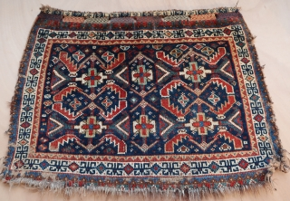 """Old  South persian bag face (70 cm x 53 cm)  Nice white border with geometric and colorful elements, many variations between dark green and yellow, with a rarely seen, green """"glacial mint""""  ..."""