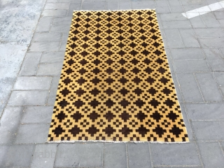 Tibetan rug, yellow background with cross brown checker veins. Size 160*92cm. Good condition.