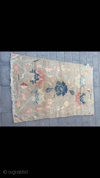 "Tibetan rug, light camel background with nice peony flower pattern. Good age and condition. Size 138*88cm(54*34"")"