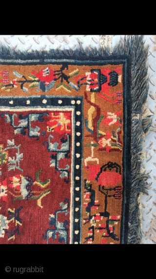 """Tibetan rug, red background with colorful flower and grass pattern. Good age and condition. Size 165*88cm(64*34"""")"""