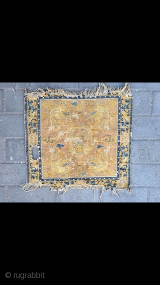 """#2062 Ningxia rug, light canmel  background with five lively dragon veins, flower selvage. It was produced in earlier Qing Dynasty . Size 62*62cm(24*24"""")"""