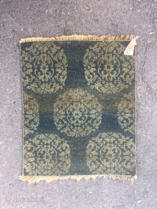 """Tibetan fragment, green background with group flowers veins. Late 19th centuryy. Wool warp and weft. Size 48*58cm(19*23"""")"""