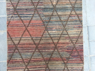 """#2079 Chinese Beijing rug, Color stripe with diamond - shaped cross checker veins. A rare one with very good age. Size 150*75cm(59*29"""")"""