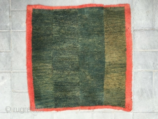 "#2083 Tibet rug, big square mat, green four strips with red selvage. Good age and quality. Size 73*73cm(28*28"")"