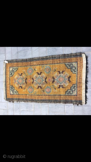 """Tibetan rug, Yellow color with group flowers and lucky clouds  veins . about late Qing Dynasty. Good age. Size 80*160(31*62"""")"""